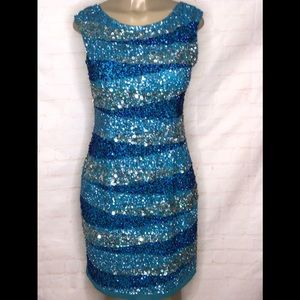 adrianna papell red carpet blue beaded dress